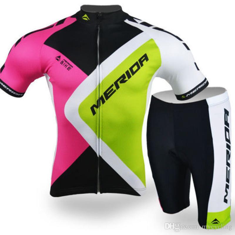 2018 신형 MERIDA Cycling Jersey 세트 남성 여름 짧은 소매 MTB 자전거 의류 Ropa Ciclismo 통기성 속건 자전거 100601Y 착용