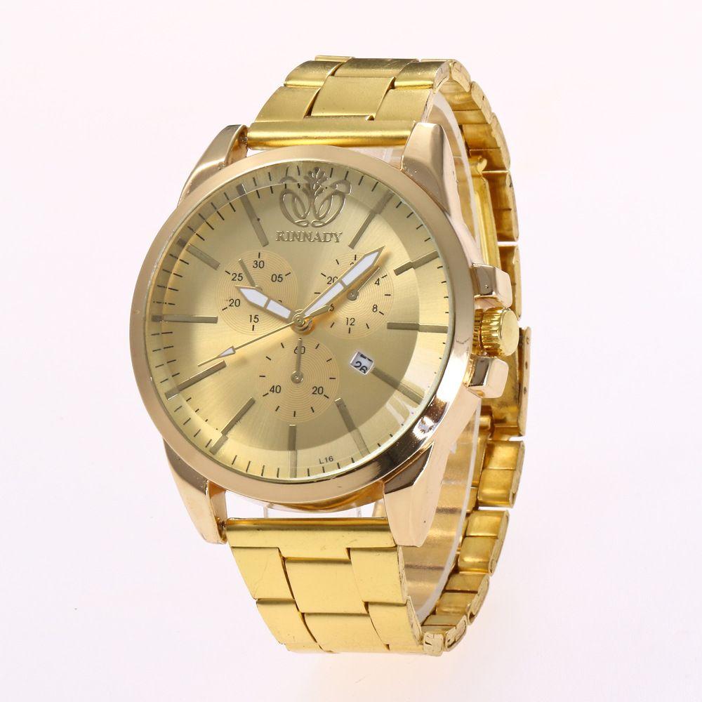 Wholesale Golden Watch Alloy Watch For Men Stainless Steel Luxury Casual Wristwatch Famous Brand Quartz Watch