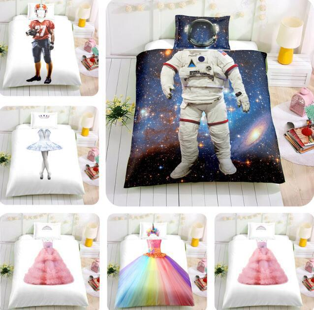 3D Duvet Cover Astronaut Ballet Wedding Dress Pattern Girls Boys Kids Children Adults Bedding Set Home Decor