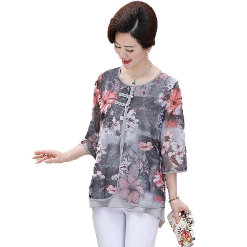 WAEOLSA Mulher do estilo chinês Ethnical Chiffon Blusas Cinzento Azul Vermelho Verde Flor Layered Tops Mulheres Oriental Botton projeto Blusa
