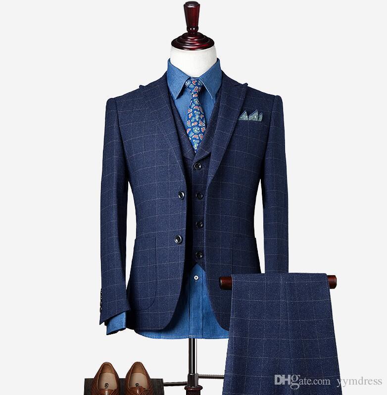Traje de lana para el novio Trajes para padrinos de boda 2019 Modest Slim Fit para hombre Traje de negocios Chaqueta + Pantalones + Chaleco Trajes para hombre Trajes de boda Novio Ebelz
