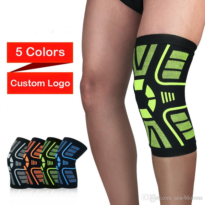 Sports Safety Protection Kneepad Compression Sleeve Breathable Socks Outdoor Basketball Leg Protector Knee Pads Custom Logo Free DHL H725F