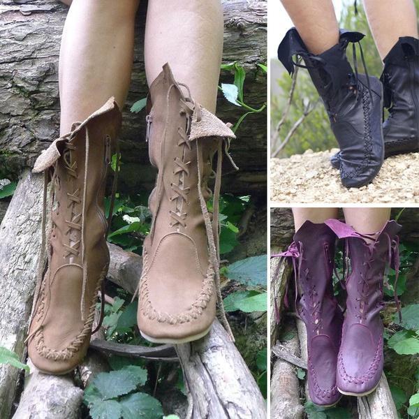 Acheter Femmes Médiévales Bottines En Cuir Doux Confortable Chaussures Plates Renaissance Fairy Lace Up Boot Pixie Chaussures De $30.16 Du Eleven12 |