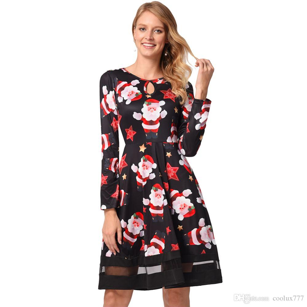 2018 Christmas Dress Women Fashion Plus Size Dressing Fair Lady Print Panel  Father Christmas Midi Party Dress Cotton Dress Womens Dress From ...
