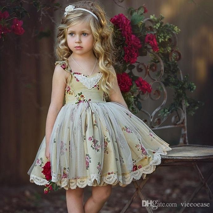 Girls Floral Tutu Dress Kids Clothing 2018 Summer Fashion Sleeveless Princess Lace Tulle Dress FF-227 mc