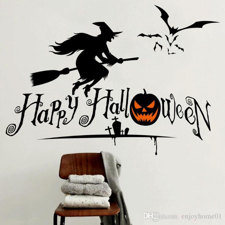 Halloween Pumpkins Witch Wall Stickers Decals Removable Home Decor Shop Glass Window Stickers Christmas Wall Stickers Decoration Art Decals