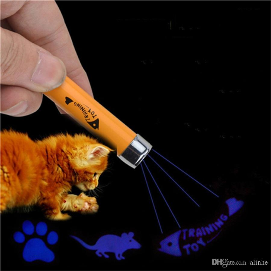 Portable Creative and Funny Pet Cat Toys LED Laser Pointer light Pen With Bright Animation Mouse Shadow DHL Free Shipping