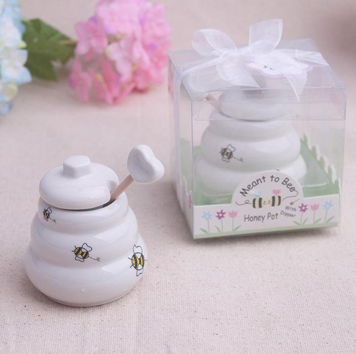 Envío gratis 100 unids de cerámica significa miel de abeja tarro Honey Pot favores de la boda / Baby shower favorece SN802