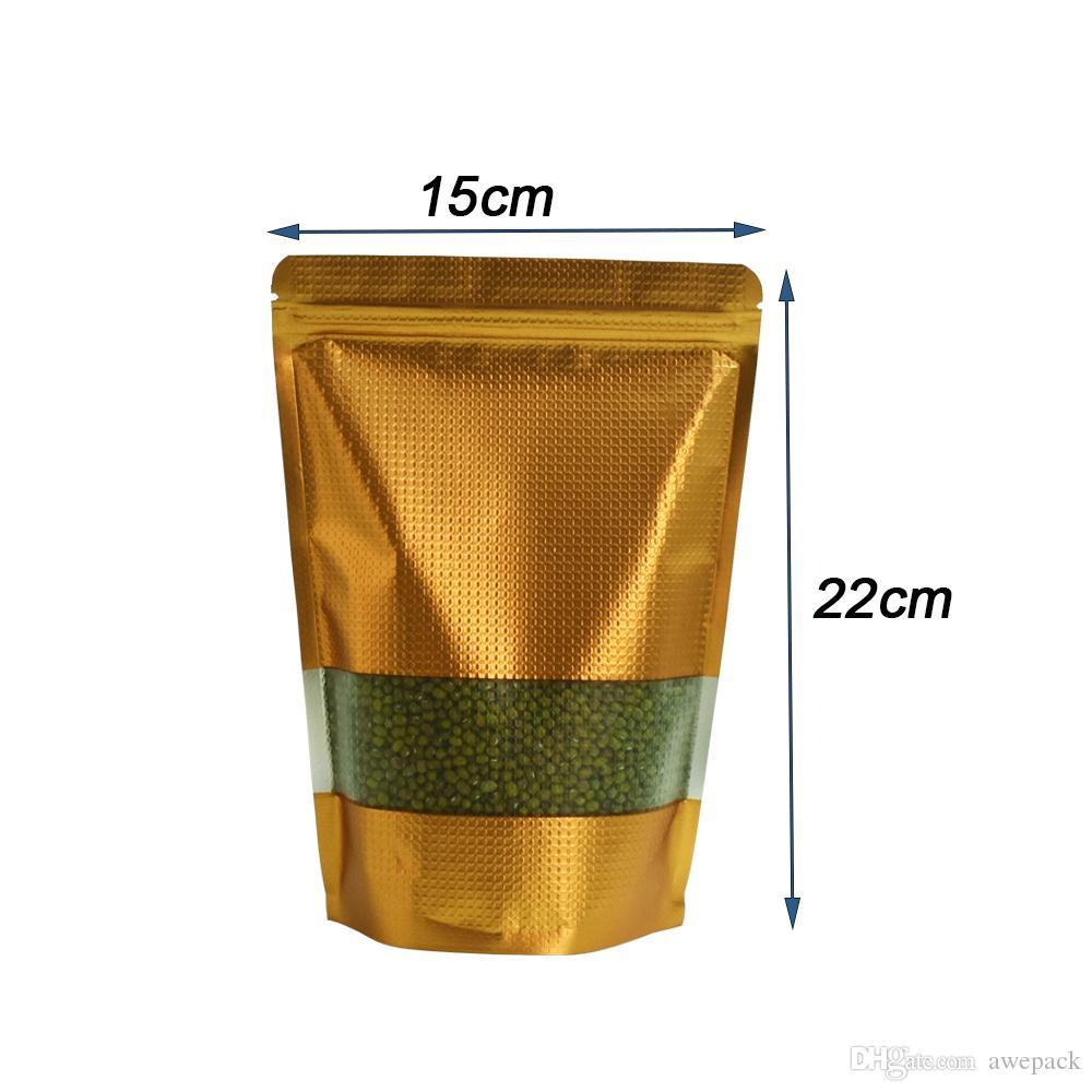 50pcs / lot 15x22cm riutilizzabile in rilievo d'oro Stand Up di alluminio Borsa Doypack Mylar Spuntino Tè Packaging Zip serratura Borsa con finestra di plastica