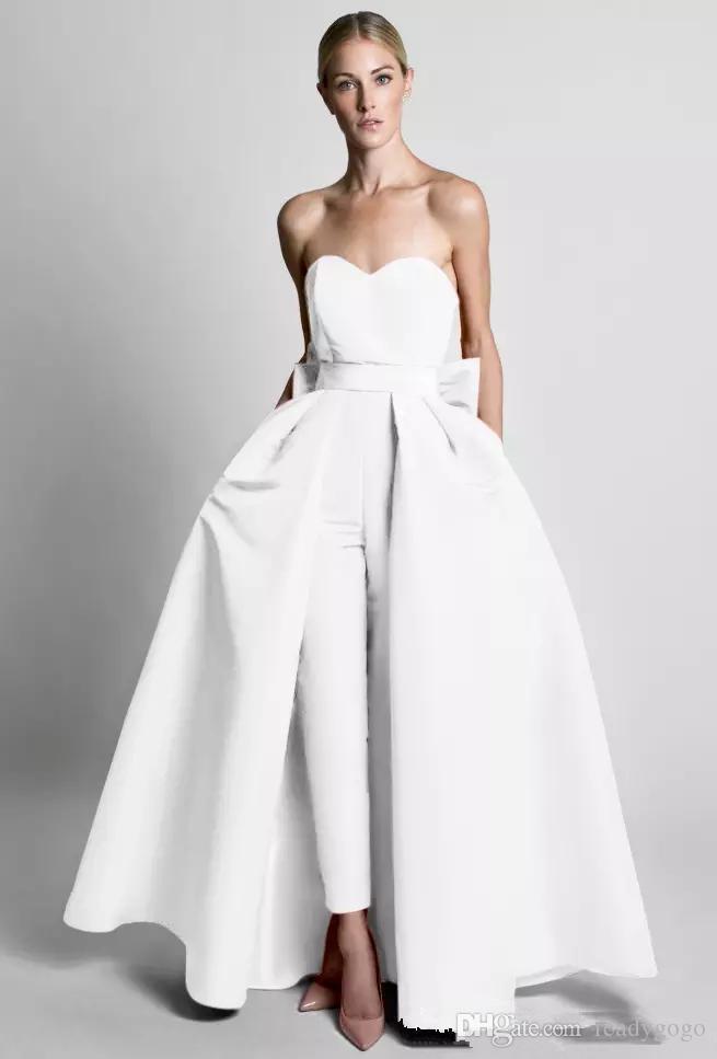 Krikor jabotian jumpsuits 탈착식 스커트와 함께 이브닝 드레스 Sweetheart Prom 가운 바지 여성 파티 드레스 저녁 착용 사용자 정의