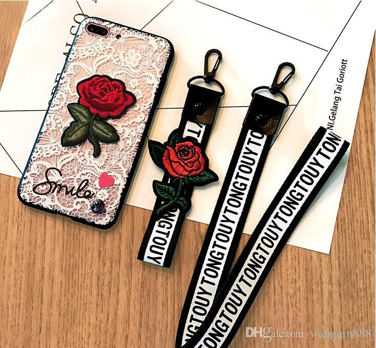 Cas de téléphone pour iPhone 8 plus S7 / S6 bord Relief Floral Dentelle Fleur Rose Rose Brodé Bracelets Lanyard