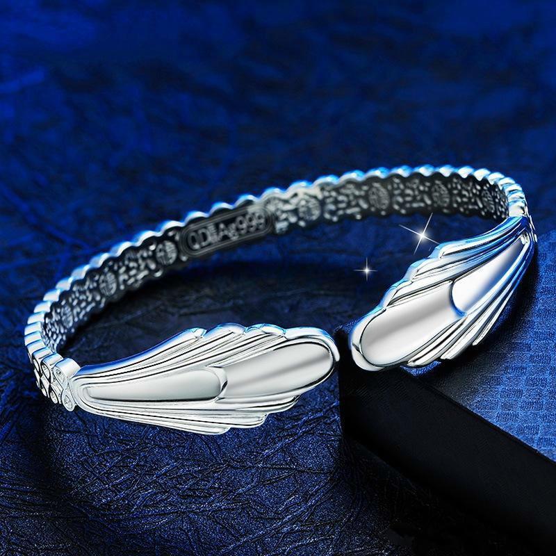 Kadın 925 Ayar Gümüş Bilezikler Kanatları Melekler Gümüş Bilezik Mermaid Moda Bilezik Gümüş Aksesuarları Lover Için Sevgililer Hediye