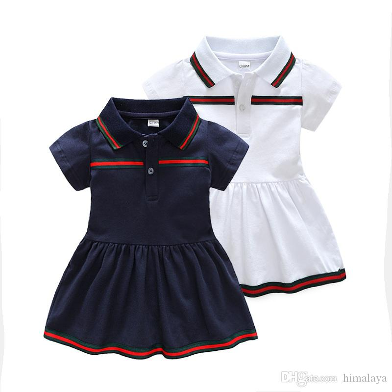 Baby Girls Striped Dresses 2018 Kids Short Sleeve Dress Children Solid Summer Clothes Girl Embroidery Dress For 6M-24M