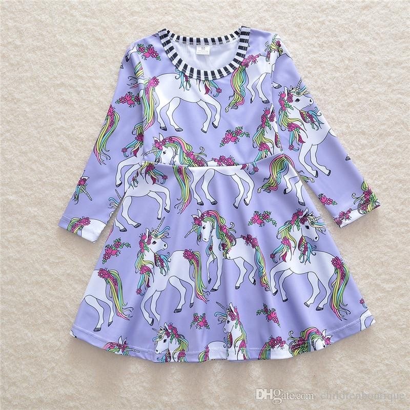 Kids Clothes Baby Girls Dress Newest European And American Style Spring Autumn Long Sleeve Unicorn Printed Dress For Children Girls Outfits