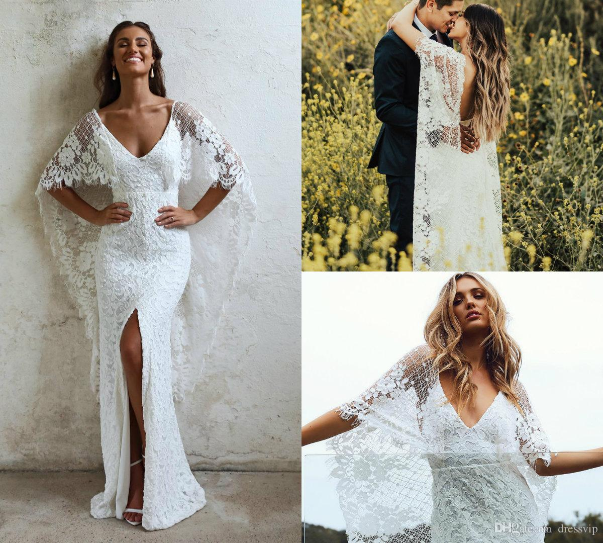 2019 Mermaid Wedding Dresses V Neck Front Split Floor Length Sexy Backless Country Wedding Gowns With Wrap Plus Size Bridal Dress Plus Size