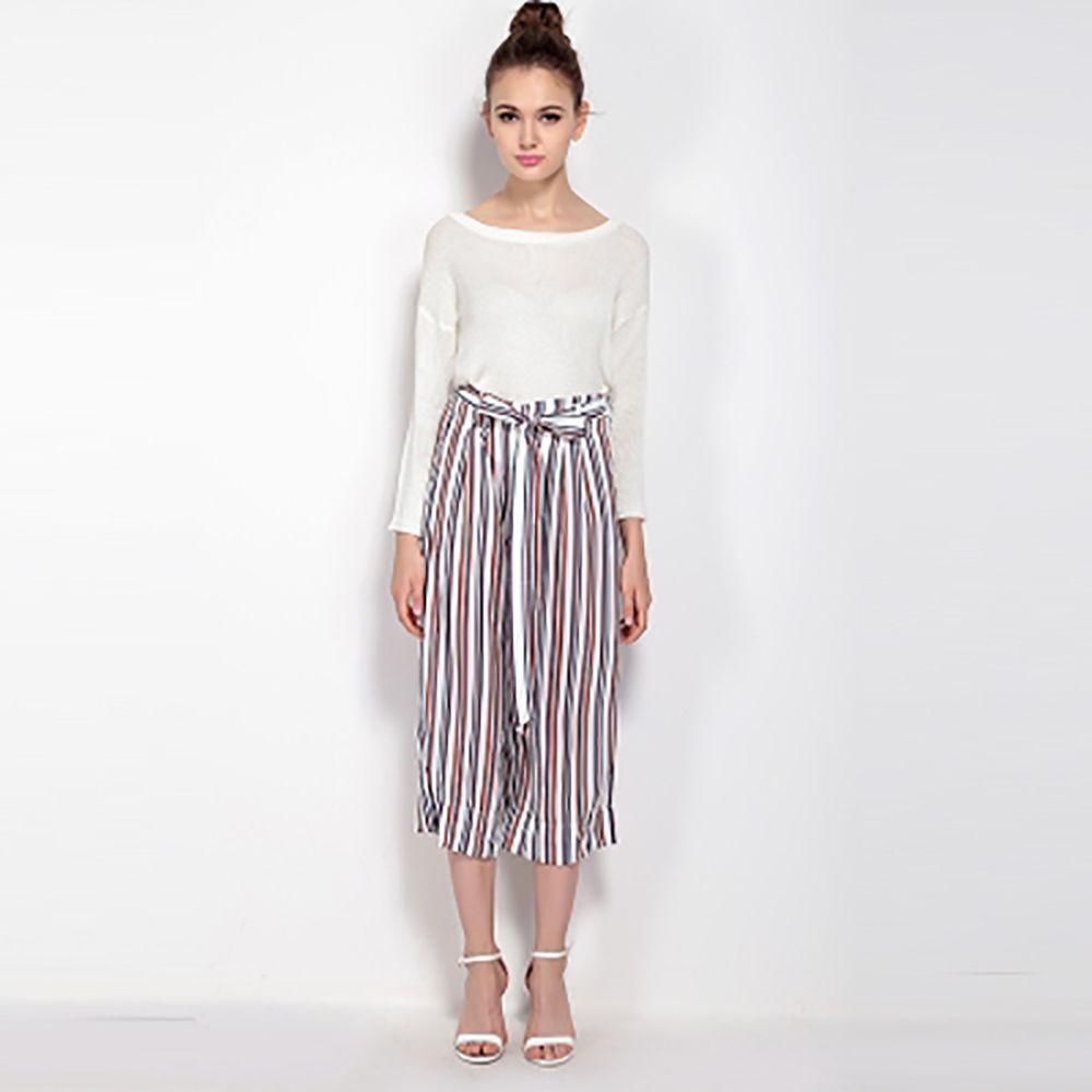 Compre Pantalones Casuales Elegantes Sueltos Bloque De Rayas De Color Blanco Cintura Corbata Pantalones De Mujer Oficina De Moda Pierna Ancha Parte Inferior Femenina Para Venta Al Por Mayor A 26 56