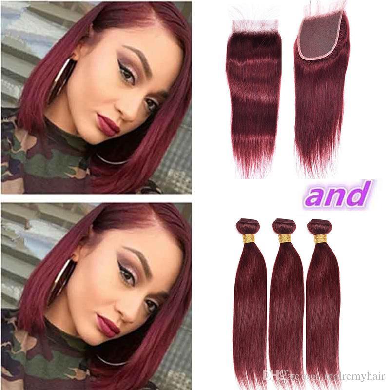 Brazilian Burgundy 99j Straight Virgin Hair Bundles With Closure Colored Human Hair Weave With Lace Closure 4Pcs Lot Brazilian Hair Vendors
