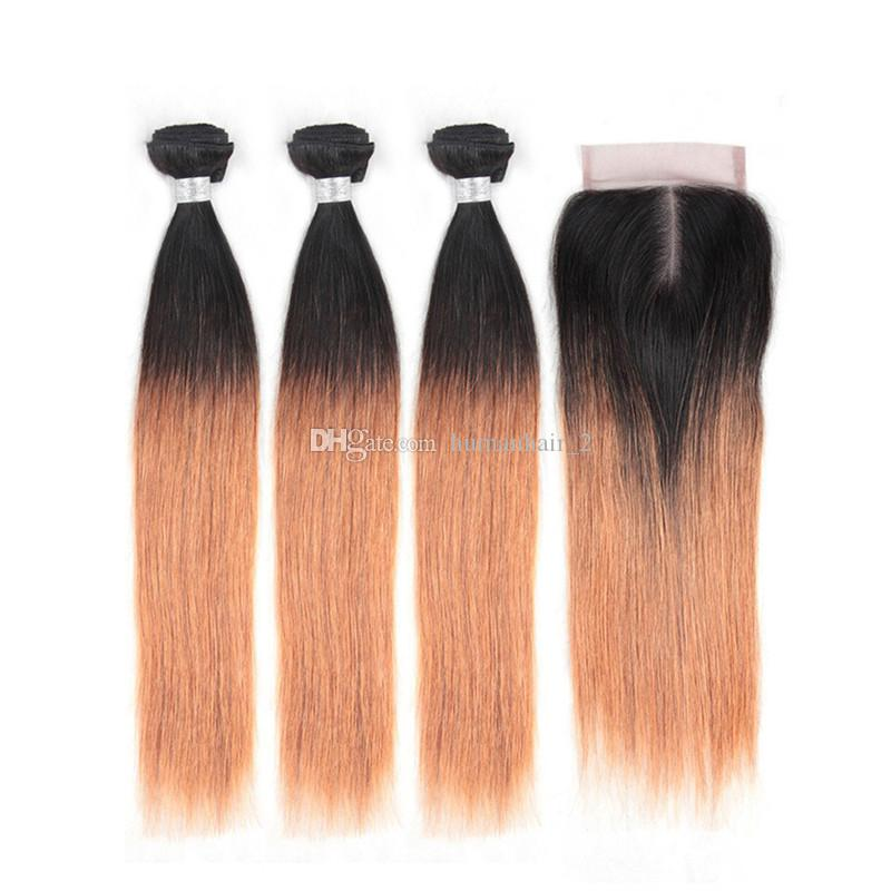3Bundles Honey Blonde Ombre Straight Hair With Lace Closure Silky Straight Human Brazilian Virgin Hair With Two Tone Color 1b 27 Top Closure