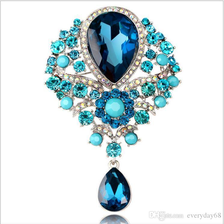 New Women Men Vintage Pendant Brooch Pin Alloy Crystal Water Drop Hot Sale Unisex Jewelry For Wholesale Free Shipping