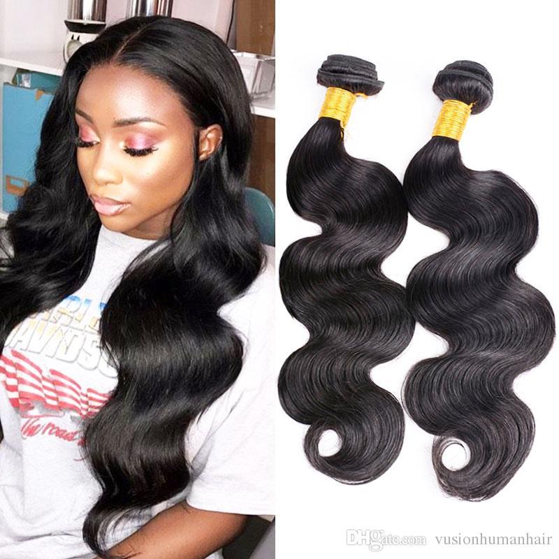 Buona qualità del Virgin del brasiliano capelli Bundles Onda del corpo tessuto Bulk 3pcs naturale Nero Lordo Raw capelli Bundles capelli dell'onda del corpo umano