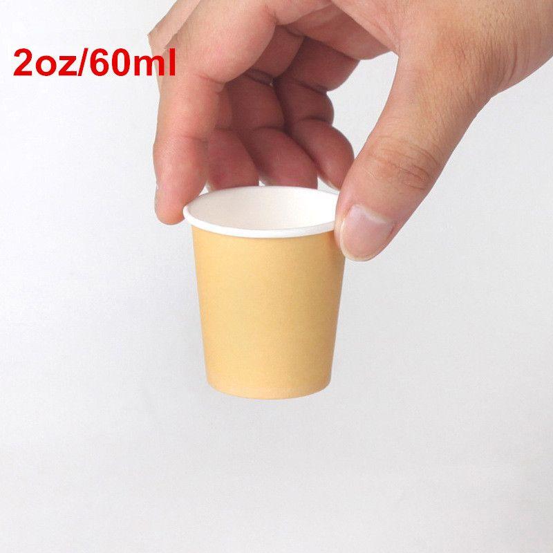 1000 X 2oz/60 мл мини-бумажные дегустационные чашки белый/коричневый кофе супермаркет продвижение образец питьевой чашки чая оптом