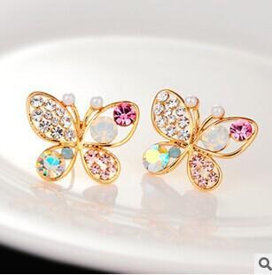 Moda vintage gioielli imitazione cristallo colorato strass color oro farfalla perla orecchini a bottone per le donne E117