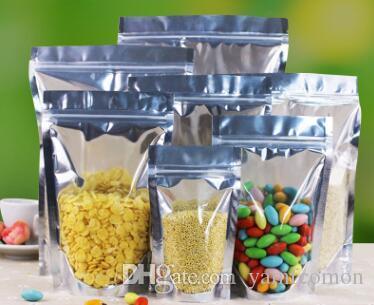 Стойте вверх ясный мешок алюминиевой фольги, серебристый металлический мешок пластичной упаковки для выпечки печенья конфеты чая еды
