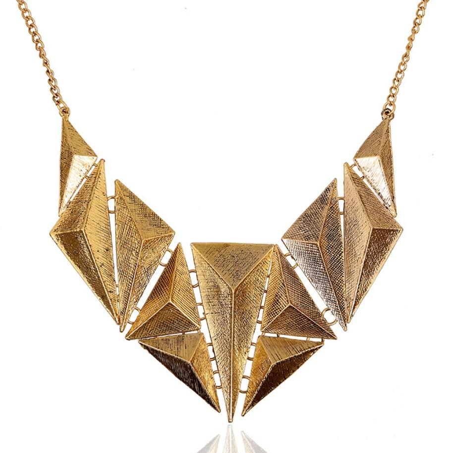 Vintage Punk Style Multi Triangle Parts Short Collar Necklace