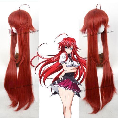 Anime High School DxD Rias Gremory Wine Red Peluca de pelo sintético Pelucas de Cosplay Envío gratis Nueva peluca de imagen de moda de alta calidad