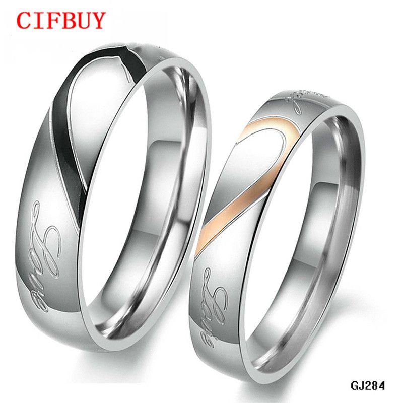 """Boîte à bijoux Boîte gratuite! """"Vrai amour"""" 316L anneau de couple demi coeur en acier inoxydable pour la bague de promesse chaude de mariage / engagement"""