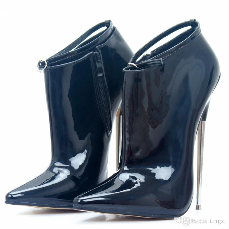 Black Ultra High Heels 18Cm Metal Heels Zip Buckle Strap Women Sexy Fetish Ankle Boots Women Pionted Toe Fashion Shoes