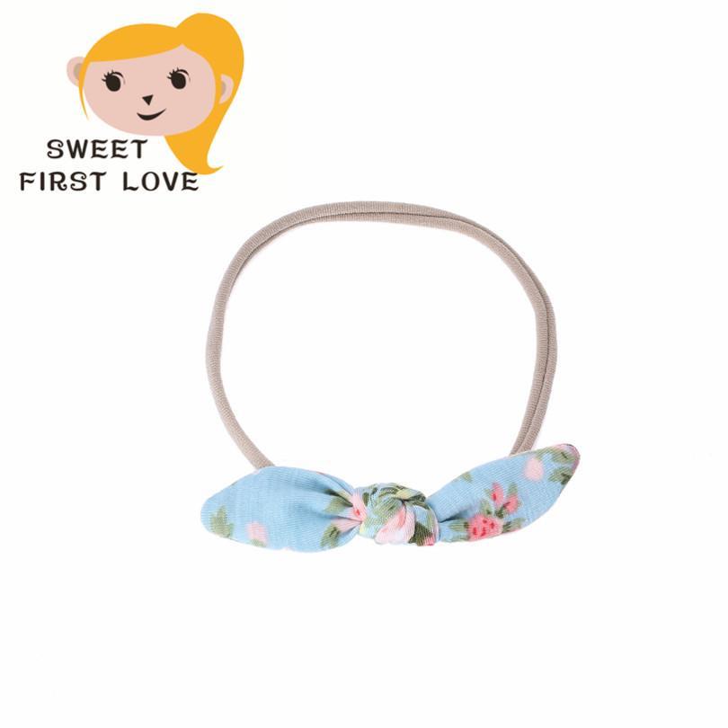 5 pcs/lot Flowers Print Girls Headbands Floral Bow Elastic Hair band Children Turban Knot Headwear Girl Hair Accessories