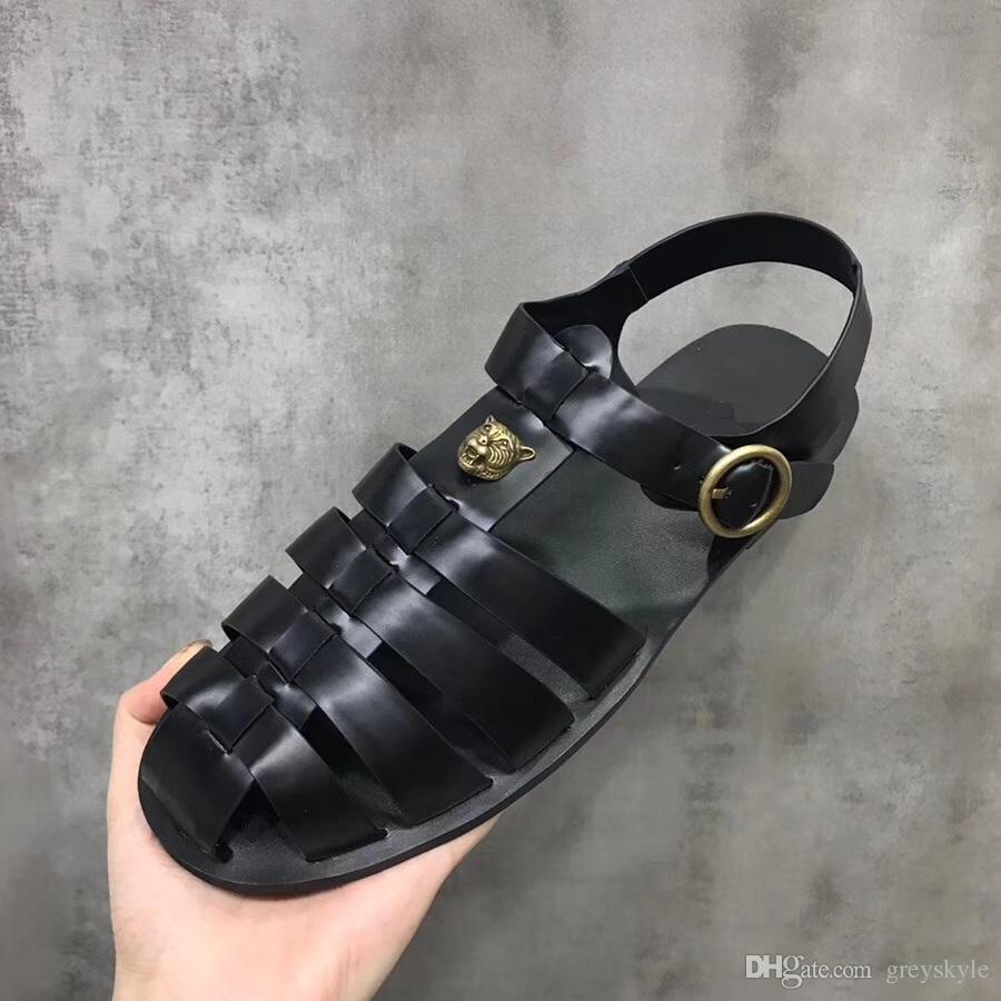 Brand Design Металл Заклепки мужчин кожа коровы плоские сандалии Лето Спорт на открытом воздухе пляжные тапочки моды случайные Golden Tiger мокасины, 38-46