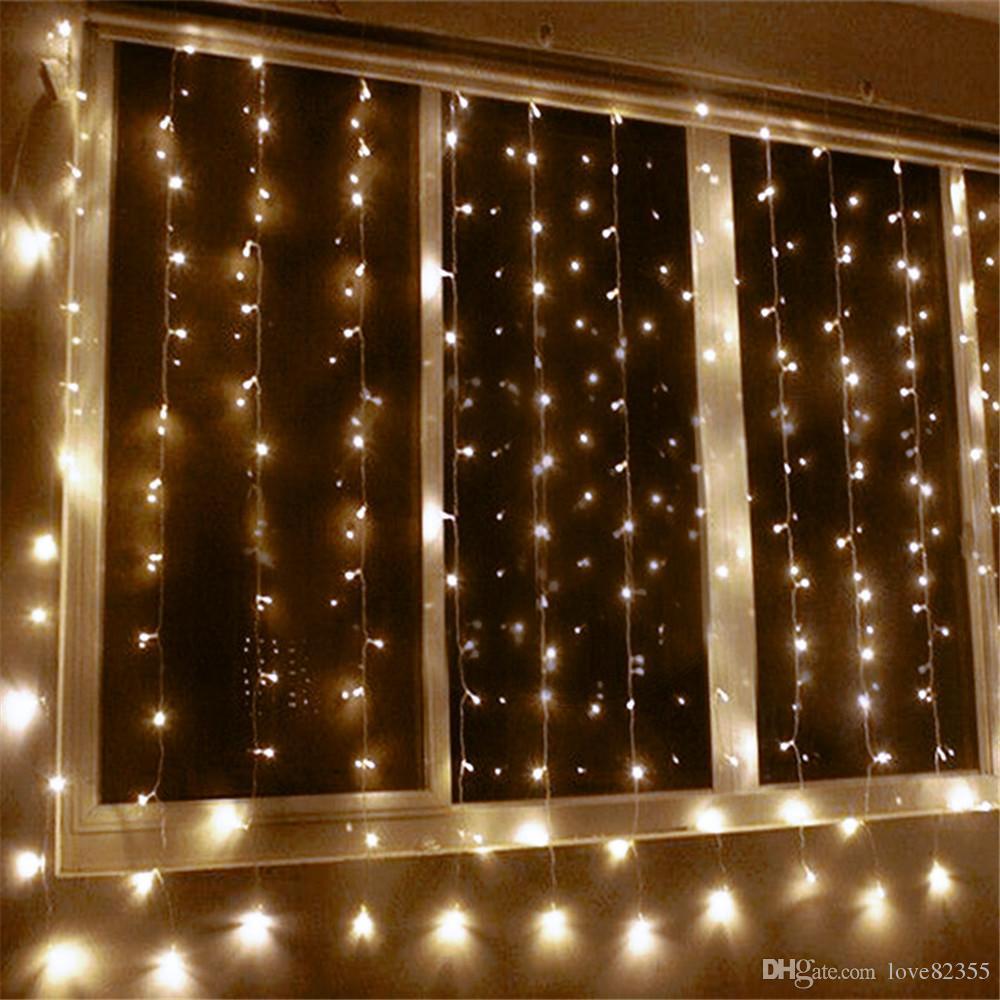 8 м х 2 м 512LED рождественские гирлянды светодиодные строки Новый год огни Фея Рождественская вечеринка сад свадебные украшения занавес фея свет
