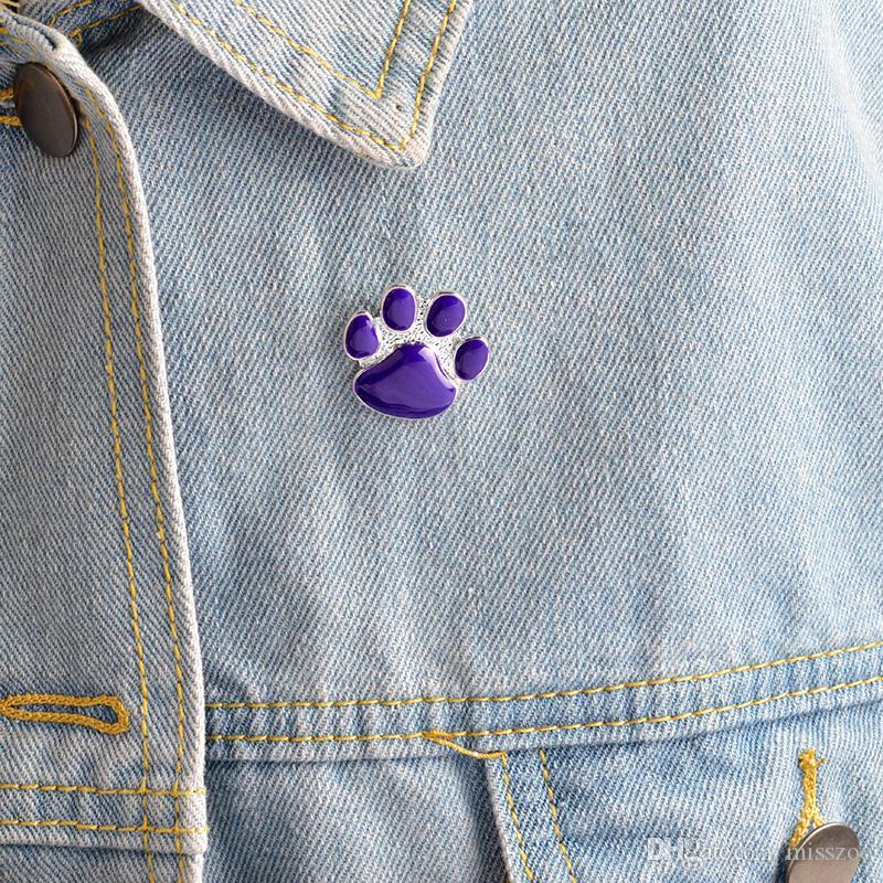 dropshipping hayvan sahipleri için Bayan Zoe Mor Köpek pençe pimi Sevimli Karikatür broş Kedi Yavrusu Paw Broş iğneler Köpek pençe Rozet Hediye Takı