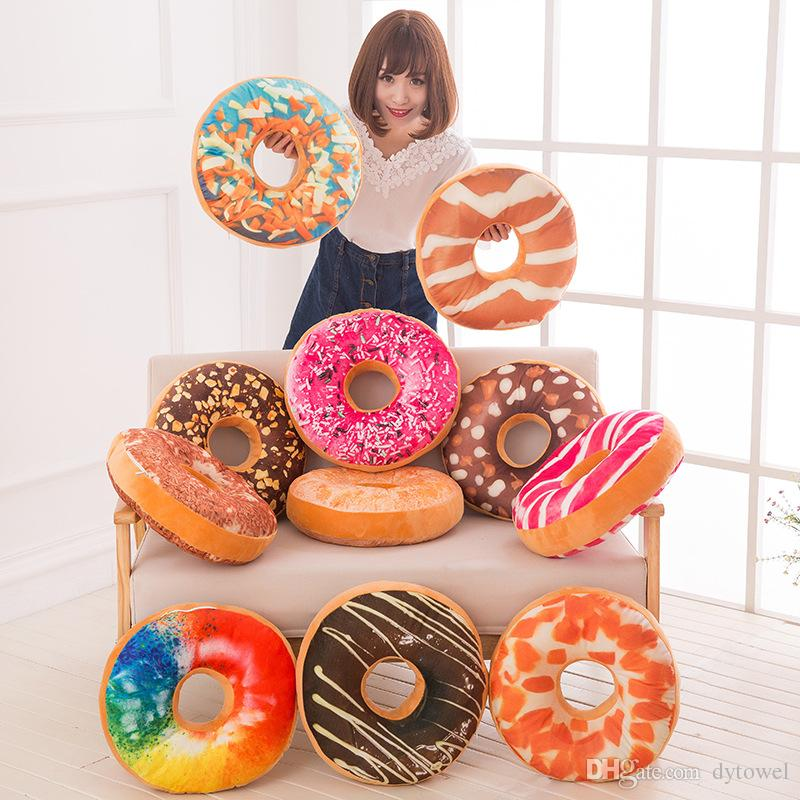 Funny 3D Creative Cute Donut Pillows Doughnut shaped Ring Plush Toys Colorful Donut Pizza Chair Sofa Seat Cushion almofada 40*40*8cm