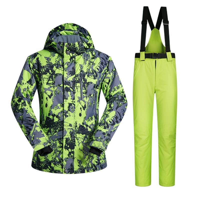 2018 High Quality Men Ski Suit Set Windproof Waterproof Warmth Snowboard Jackets and Pants Winter Snow Sportswear Clothing