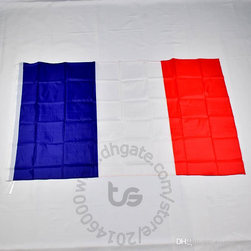 프랑스어 프랑스 국기 무료 배송 3X5 FT / 90 * 150cm 매달려 국기 프랑스 홈 장식 플래그 배너