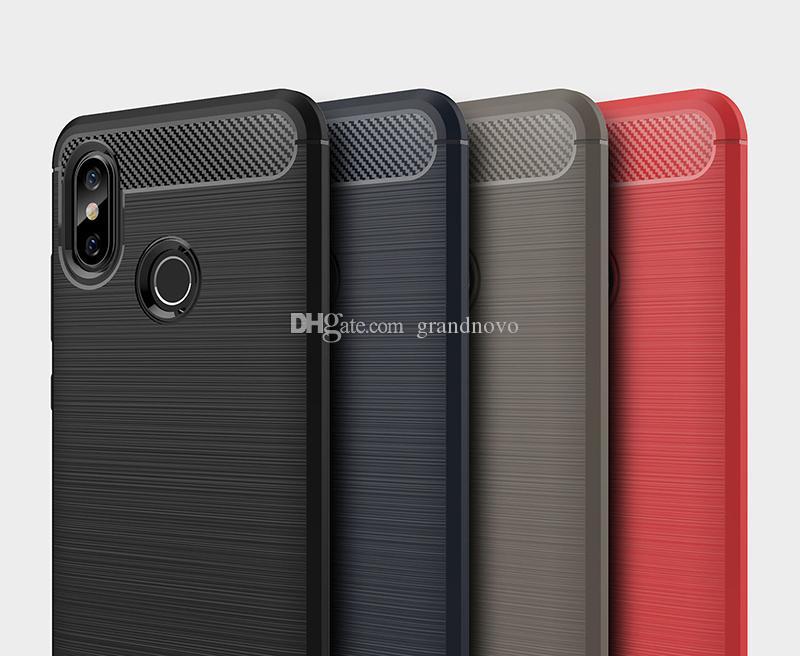 Coque En Fibre De Carbone Dur Armure Antichoc Doux TPU Silicone Brossé Couverture Pour Xiaomi Mi 8 SE 6X Max 3 Mélanger 2S F1 Redmi Note 6 Plus 5A 6A 5A