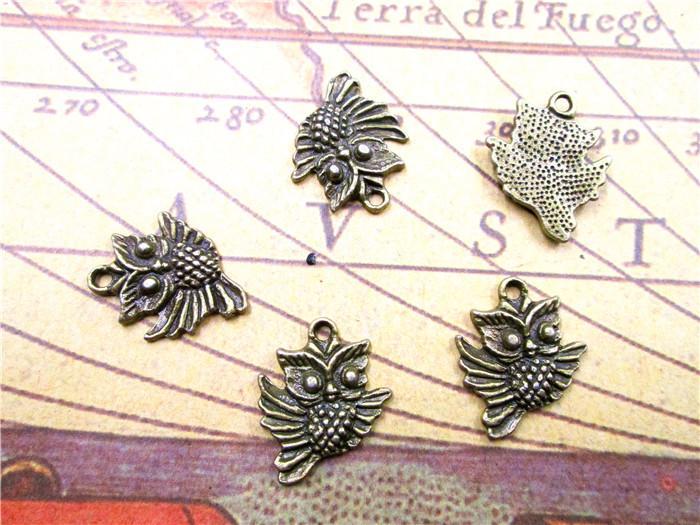 45pcs Mini-Eulen-Charme abgebildet-Antique Bronze Vogel Perlen und Charms Anhänger 17x20mm