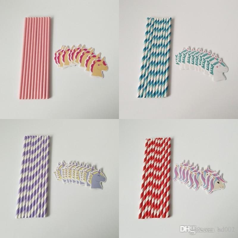 Cartoon Unicorn Series Paper Drinking Straws Diseño creativo Cocktail Juicy Stripe Straw For Party Supplies Decorativos 1 7tt ff