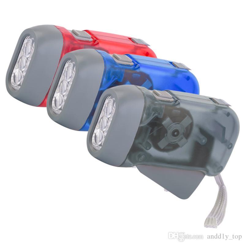 Extérieur 3 LED lampe de poche à la main Appuyez sur Non batterie Wind Up manivelle Dynamo lampe de poche Lumière Camping torche Portable Flash Light