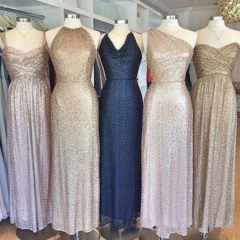 Sorella Vita Rose Gold Sequins Bridesmaid Dresses Country Style Navy