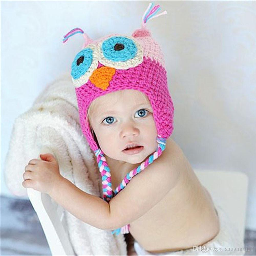 New Lovely Pattern Baby Hat Winter Toddler Owls Knit Crochet Knitted Cap For child kids baby beanies Cotton Hat
