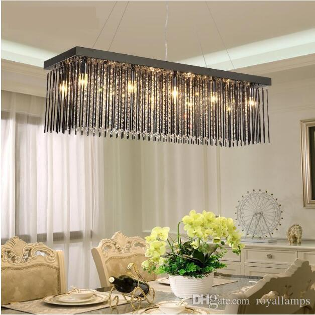 SVITZ Black glass Restaurant Chandelier Crystal Lamp Rectangular Dining room hanging Lamp Led Chandelier Modern lighting lustre Lamp
