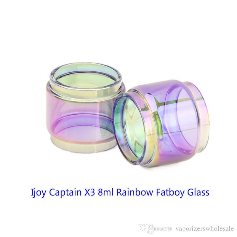 Venta al por mayor Ijoy Capitán X3 8 ml Expansión Rainbow Glass DHL Gratis Comprar Barato Ijoy Capitán X3 8 ml Extended Glass Tube Fatboy Versión Bulbo