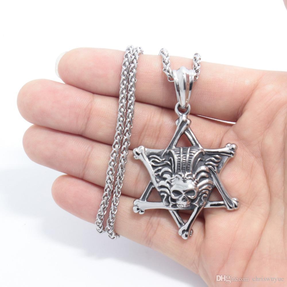Yüksek Kalite Moda Yaratıcı Pentagram otoriter Kafatası Paslanmaz Çelik Kolye Moda Kişilik İskelet Titanyum Çelik Kolye