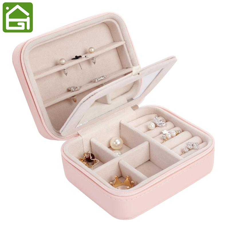Small Portable Travel Leather Jewelry Storage Bag with Mirror Jewelry Organizer Gift Box for Rings Earring Necklace and Bracelet