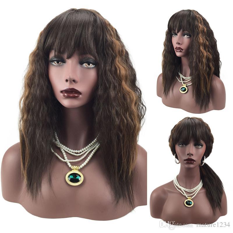 Оптовая высокого качества стильный длинный парик локон смешивания волос женские парики высокой плотности термостойкие синтетические волосы парик