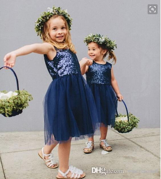 Cheap vintage Knee length Navy blue Flower Girls Dresses For Weddings sequined top tulle skirt short birthday Girl Communion Pageant Gown